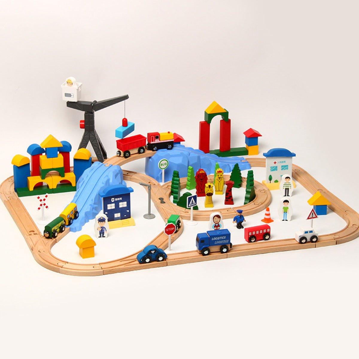 precios ultra bajos WERTY MEI Juguetes para niños Juguetes Juguetes Juguetes de playa Rompecabezas Juguetes educativos vagones de tren 123 piezas de vagones de riel Regalos de cumpleaños para niños  caliente