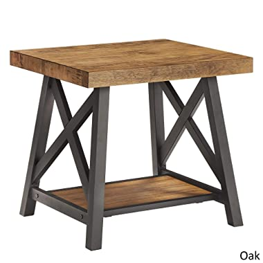 Bryson Rustic X-Base End Table with Shelf by iNSPIRE Q Classic (Oak)