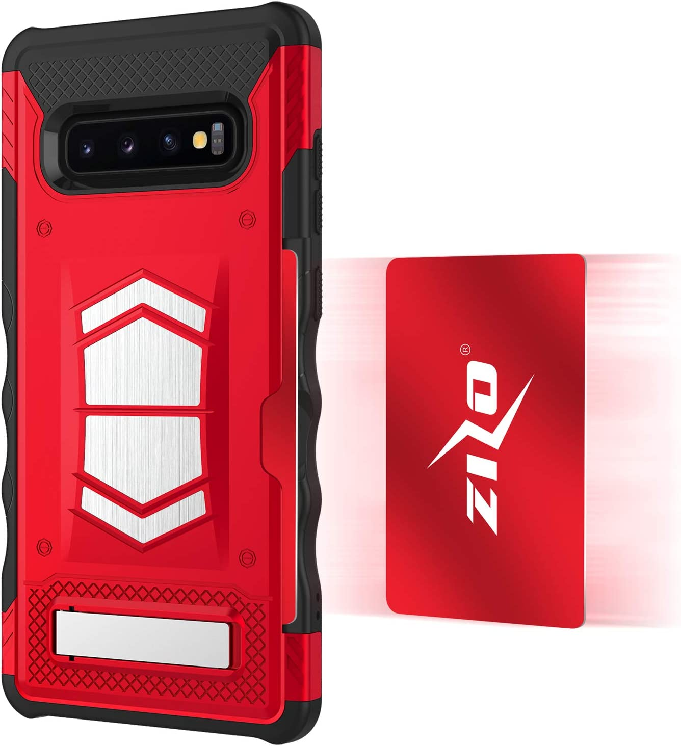 Zizo Electro Series Compatible with Samsung Galaxy S10 Plus with Card Slot and Air Vent Magnetic Holder Black Black