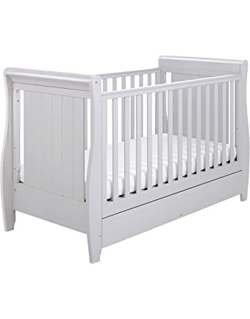 Babymore Stella Sleigh Cot Bed Dropside with Drawer - Grey