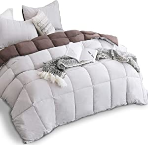 KASENTEX All Season Down Alternative Quilted Comforter Set Reversible Ultra Soft Duvet Insert Hypoallergenic Machine Washable, Queen, Silver Cloud/Chocolate Brown