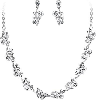 EVER FAITH/® Fleur Feuille Collier Boucle dOreilles Parures Cristal Autrichien