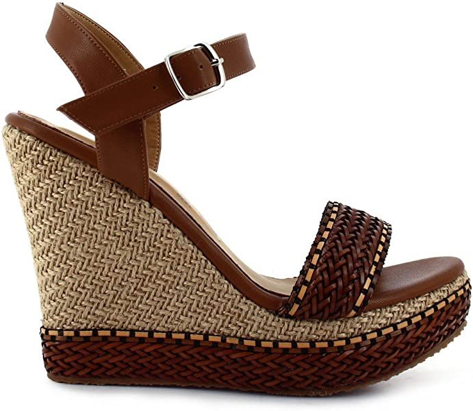 96c1498330b5 Amazon.com  Ceresnia Adult Brown Ankle Strap Platform Wedge Trendy Sandals  6 Womens  Clothing