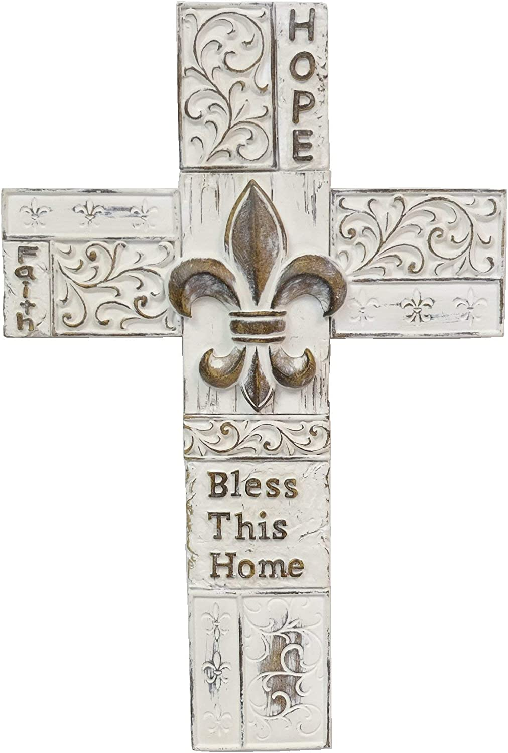 """BestGiftEver FDL Fleur De Lis White Distress Scrolls Wall Cross with Saying Hope Faith Bless This Home 13.2"""""""