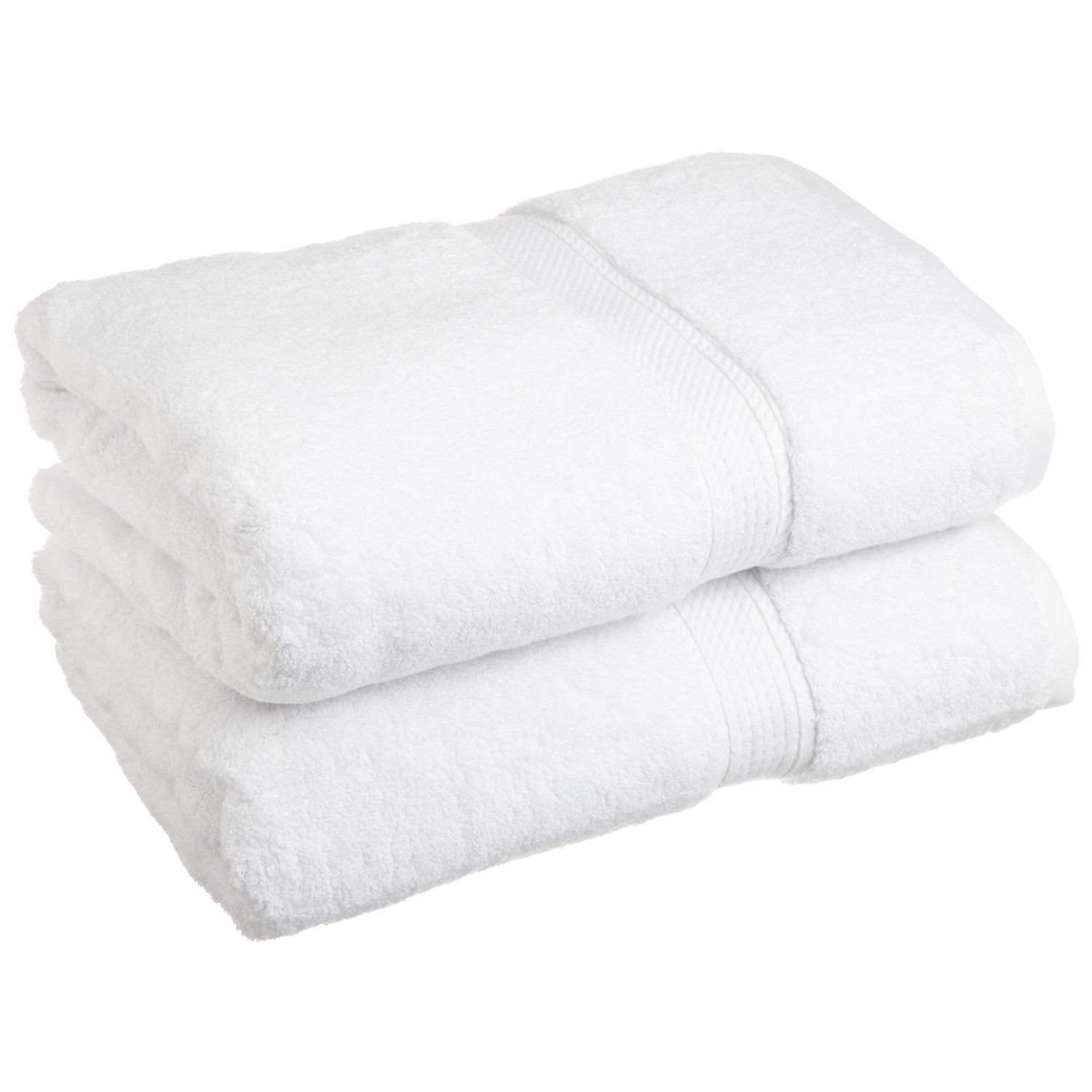 700 GSM Luxury Bathroom Towels, Made of 100% Premium Long-Staple Combed Cotton, Set of 2 Hotel & Spa Quality Bath Towels - White, 30'' x 60'' each (White)