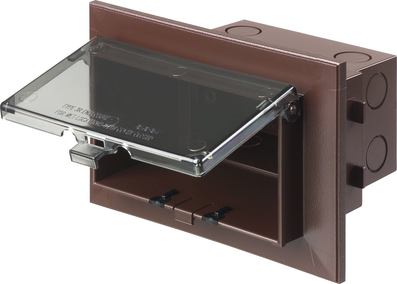 Arlington DVB1BR-1 Low Profile IN BOX Electrical Box with Adapter Sleeve for New Brick Construction, 1-Gang, Vertical, Brown Cover/Brown Box