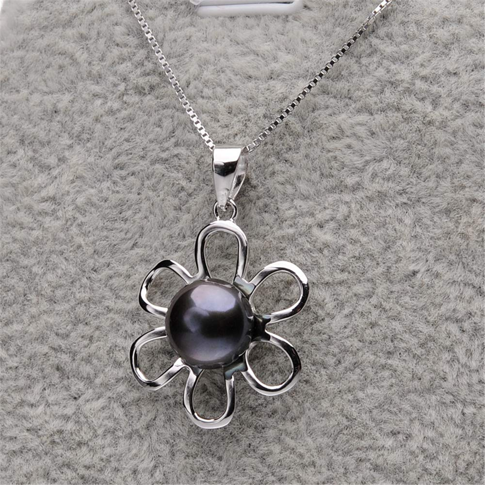 GLEENECKLAC Fashion Flower 925 Sterling Silver Pendant Necklaces 8-9MM Black Freshwater Pearl Necklace for Women Fine Jewelry