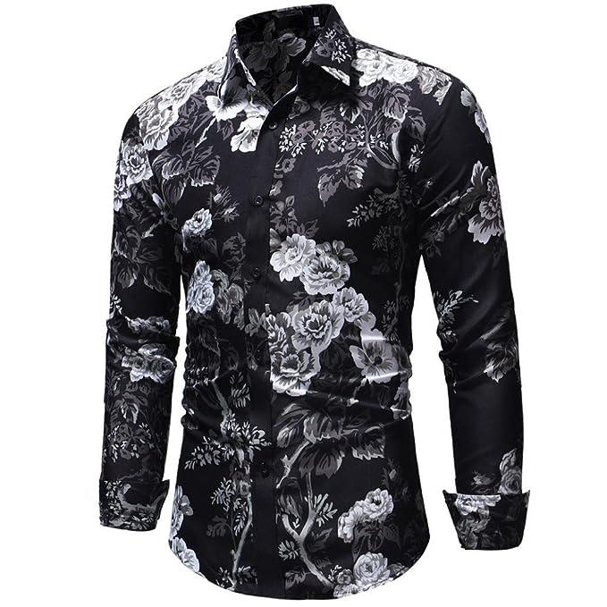 check out 477db 9a768 Ode_Joy Camicia da Uomo Autunno e Inverno con Stampa Floreale,Uomo Estiva  Fiori Tropicale 3D Stampa Manica Casual Camicie Shirt,Classica Regular Fit  ...
