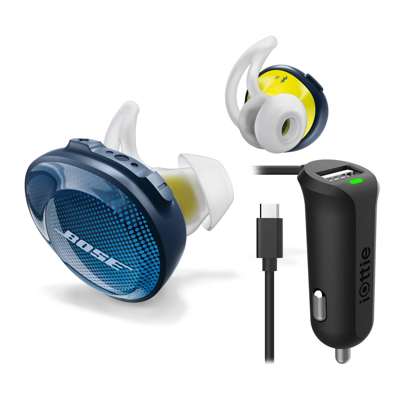 Bose SoundSport Free Truly Wireless In-Ear Headphones, Midnight Blue, with Micro USB Car Charger