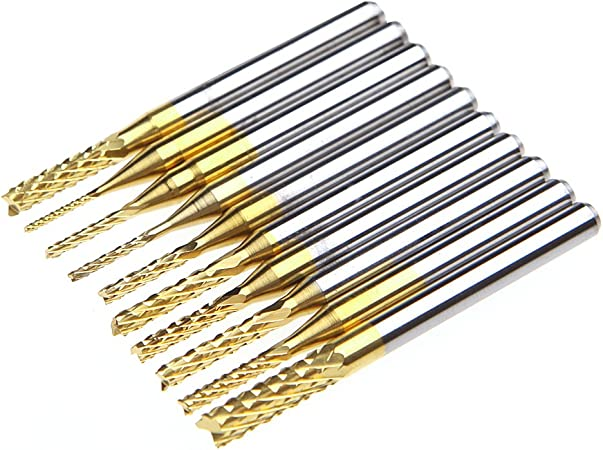 10x 1//8/'/' 0.8-3.175mm PCB Drill Bit Set Engraving Cutter Rotary CNC End Mill