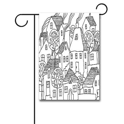 Amazon Com Wondertify Garden Flags Sketchy Cartoon House Village