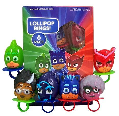 PJ Masks Anillos de piruleta de caramelo duro con forma de ...