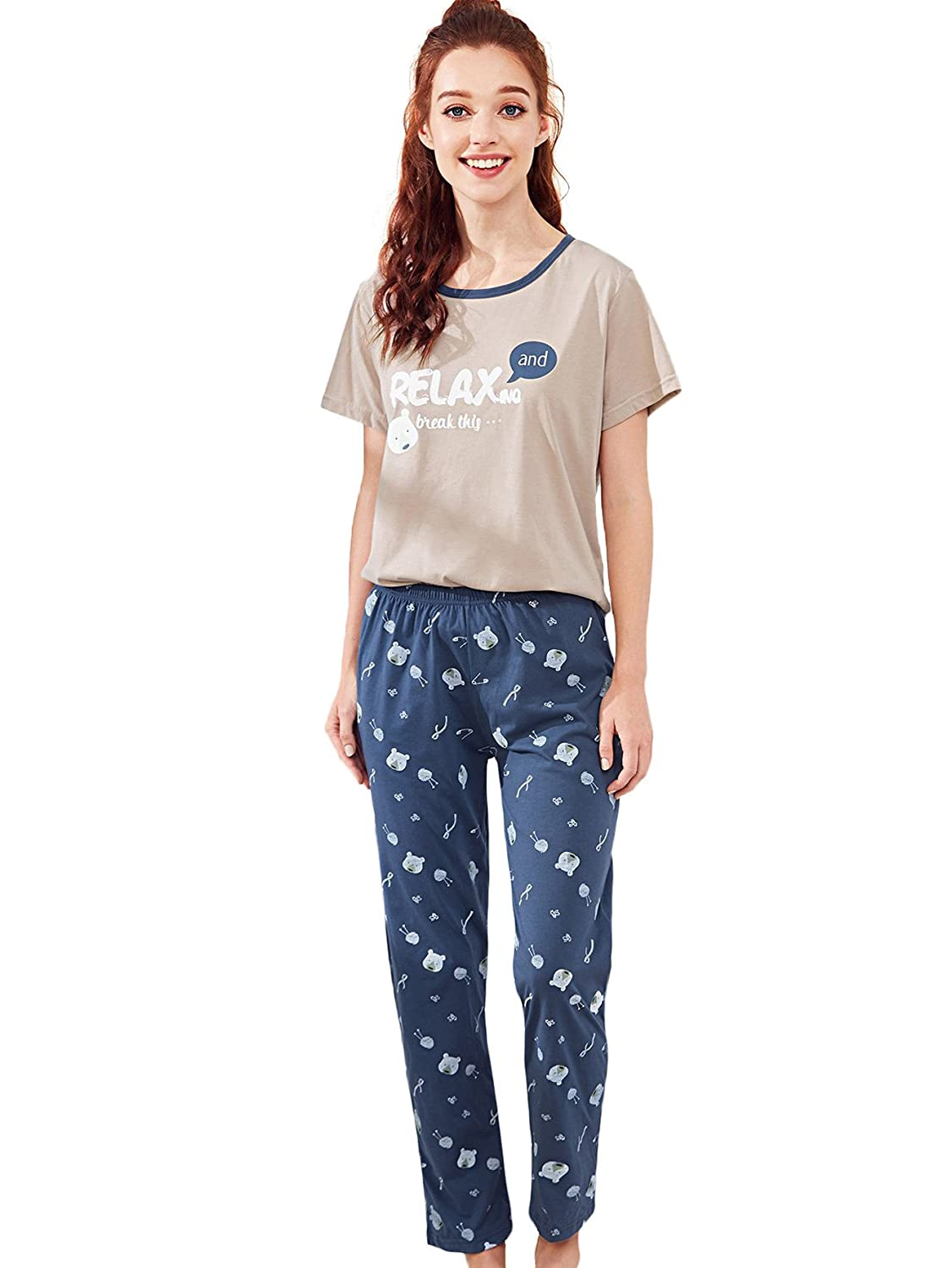 Multicolor2 Milumia Women's Cute Round Neck Pattern Print Short Sleeve Tee & Pants Sleepwear Pajama Set