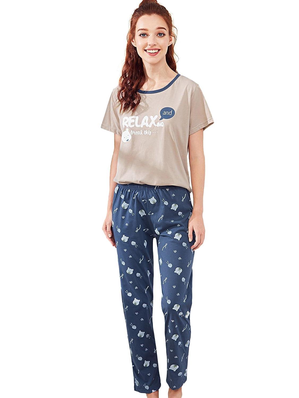 Multicolor2 Milumia Women's Cute Round Neck Pattern Print Short Sleeve Tee & Pants Sleepwear Pajama Set