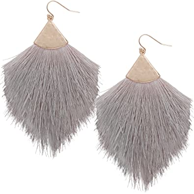 52593ab5a4a51 Humble Chic Fringe Tassel Statement Dangle Earrings - Lightweight Long  Feather Drops