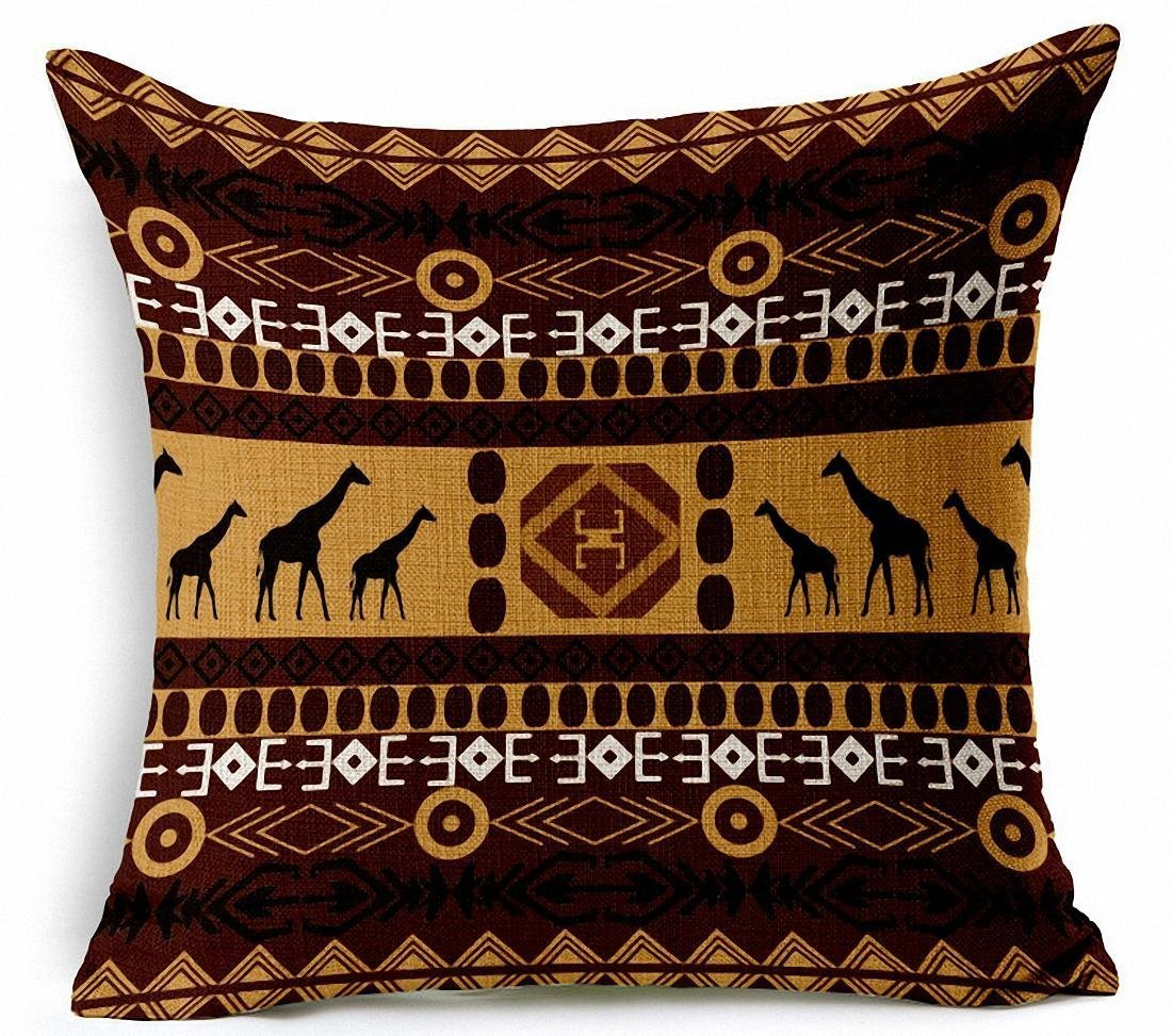 E-sunshine/® Cotton Blend Linen Square Throw Pillow Cover Decorative Cushion Case Pillow Case 18 X 18 Inches 004 African National Wind Stripes 45 X 45 cm