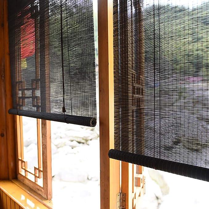 FF Estores enrollables Persianas enrollables para Exteriores para garajes de pérgola de Patio, sombrilla Exterior de Madera con Gancho, Negro, 70/90/110/130/140 cm de Ancho (Size : 70×150cm): Amazon.es: Hogar