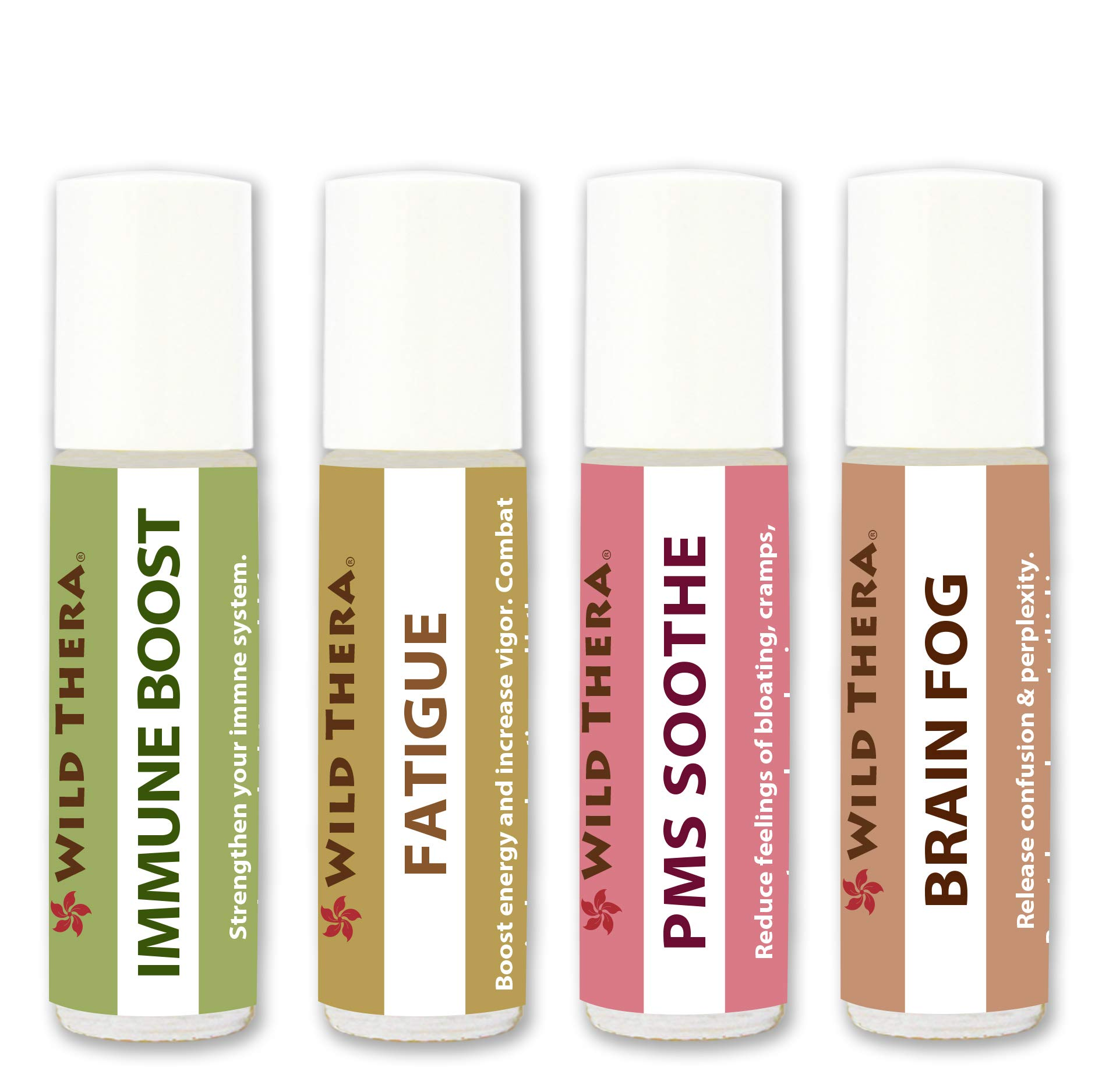 Wild Thera. PMS Support Set of 4 x 10ml. Pure Pre-Diluted Certified Aromatherapy Oils for PMS, Fatigue, Brain Fog and Immune Support. For Mood swings, exhaustion, confusion, nervousness and more.