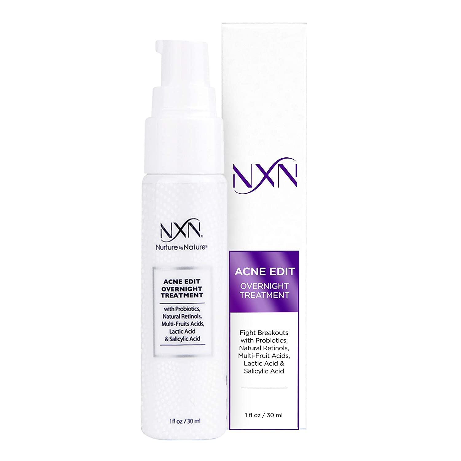 NxN Acne Edit Overnight Treatment Cream with Glycolic, Salicylic, Lactic Acids & Probiotics to Clear Breakouts & Calm Redness - for Men, Women, Teens