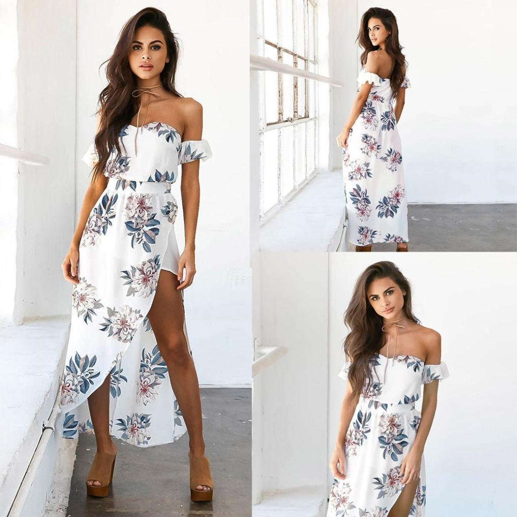 66f8189630a41 Amazon.com: TOTOD Women Vintage Boho Long Maxi Evening Party Beach Dress  Floral Sundress: Clothing