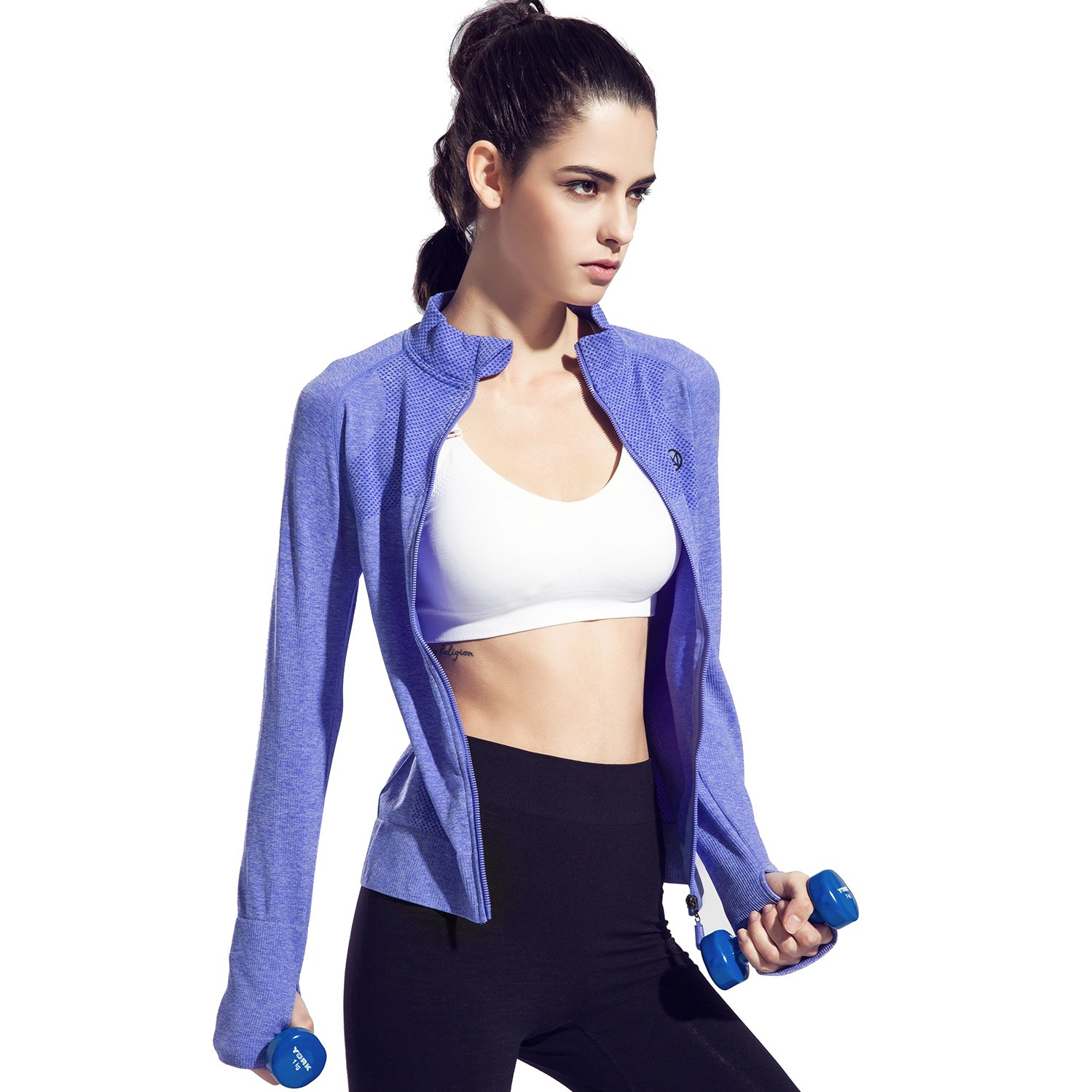 a72dcb4f94 Speedle Women's Workout and Yoga Zip Up Stretchy Jacket with Thumb Holes at  Amazon Women's Clothing store: