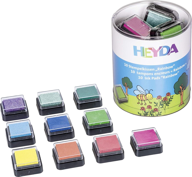 HEYDA Stempelkissen-Set Rainbow, Klarsicht-Runddose 204888470