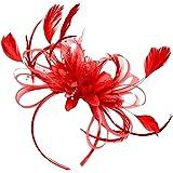 Women Red Fascinator for Weddings on Headband Wedding Ascot