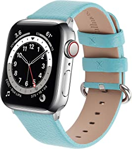 Fullmosa Compatible for iWatch Strap 38mm 40mm Women Men with Silver Buckle for iWatch Series 6/SE/5/4/3/2/1 (Sky Blue)