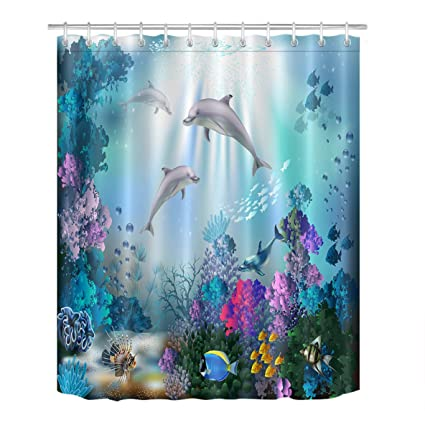 LB Underwater Animal Shower Curtain Set Dolphin Fish Swim Coral Reef Bathroom Curtains Blue Polyester Fabric