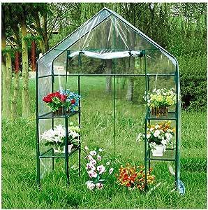 HAIPENG-Invernadero De Jardín Casa De Cultivo Invernáculo Doble Capa Planta Creciente Portátil El Plastico PVC Cubrir (Color : Claro, Tamaño : 143x73x195cm): Amazon.es: Hogar