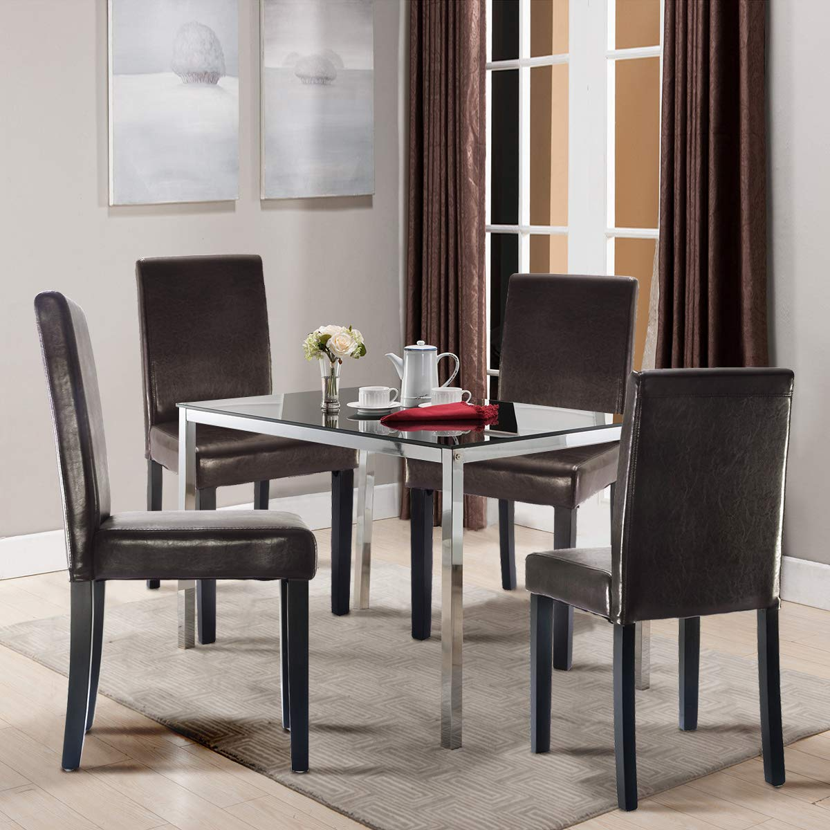 Costway Set of 2 Parson Chairs Elegant Design Leather Modern Dining Chairs Dining Room Kitchen Furniture Urban Style Solid Wood Leatherette Padded Seat Brown