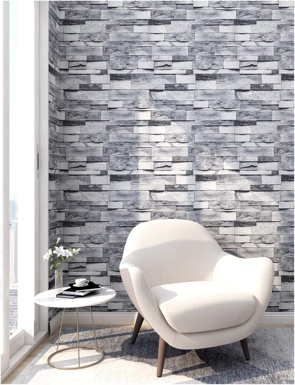 HaokHome 91064-1 Peel and Stick Faux Brick Stone Wallpaper 17.7in x 9.8ft Gray Vinyl Self Adhesive Decorative