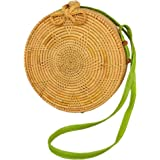 amololo Flower Shape Handwoven Rattan Shoulder Bag Beach Crossbody Bag with Different Leather Strap
