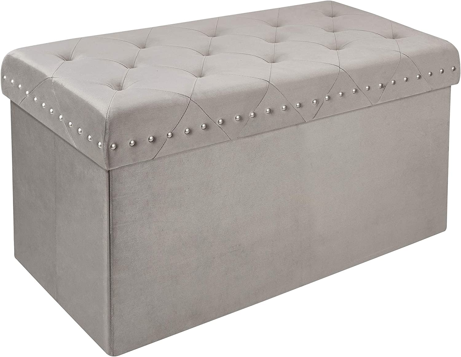 Inspire Me! Home Décor Anastasia Ottoman Bench with Lux Metal Studs Detailing, Classy Pewter Grey Soft Velvet, 32 x 16 x 17 in, Gorgeous Tufted Design, Comfortable Seating, Hidden Storage (520260-013)