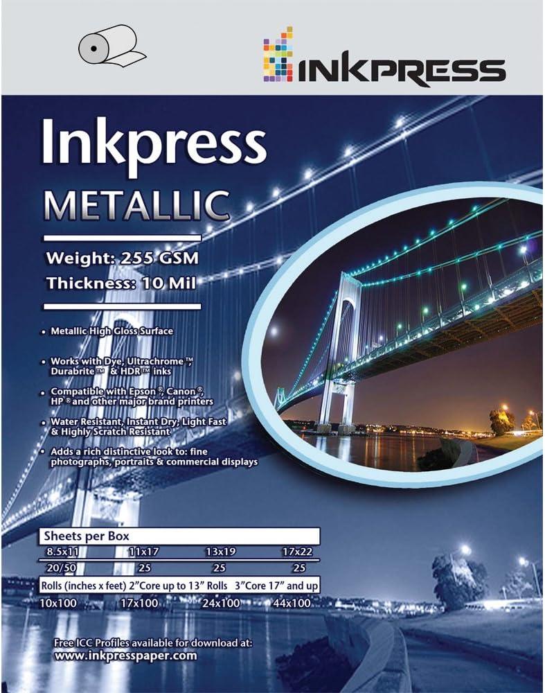 Inkpress Metallic Paper Gloss - 255 gsm, 10 mil, Metallic Glossy surface,17 x 22 - 25 71eSvTk8e-LSL1000_