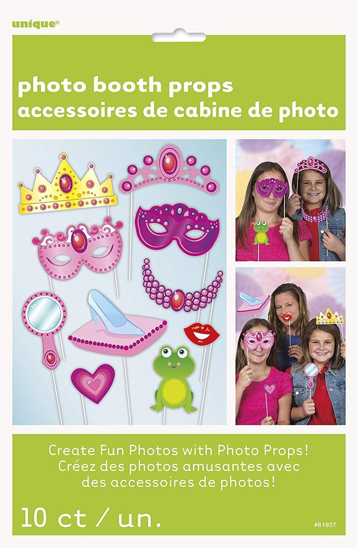 Unique Party- Princess Paquete de 10 accesorios de cabina de fotos Fiesta de Cumpleaños de Princesa, Multicolor, talla única (61937) , color/modelo surtido