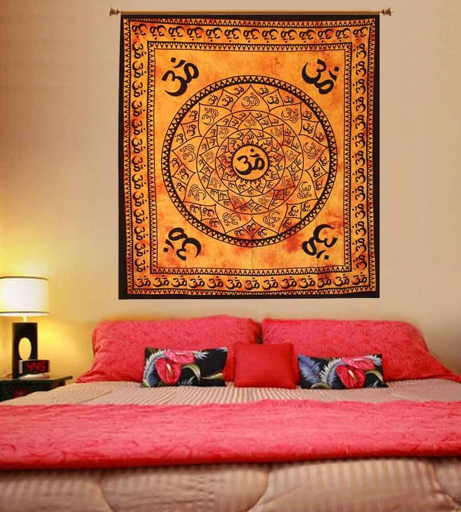 Indian Hippie Ohm Mandala Tapestry Bedspread Bohemian Beach Throw Wall Hanging