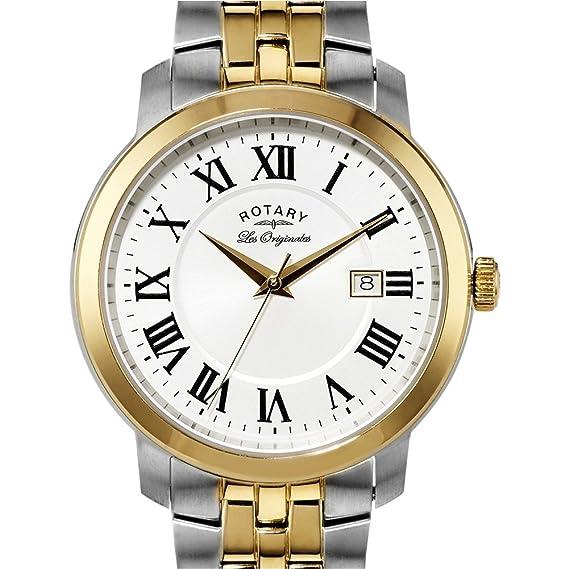 Rotary Les Originales GB90091/21 - Reloj para hombres, correa de acero inoxidable chapado