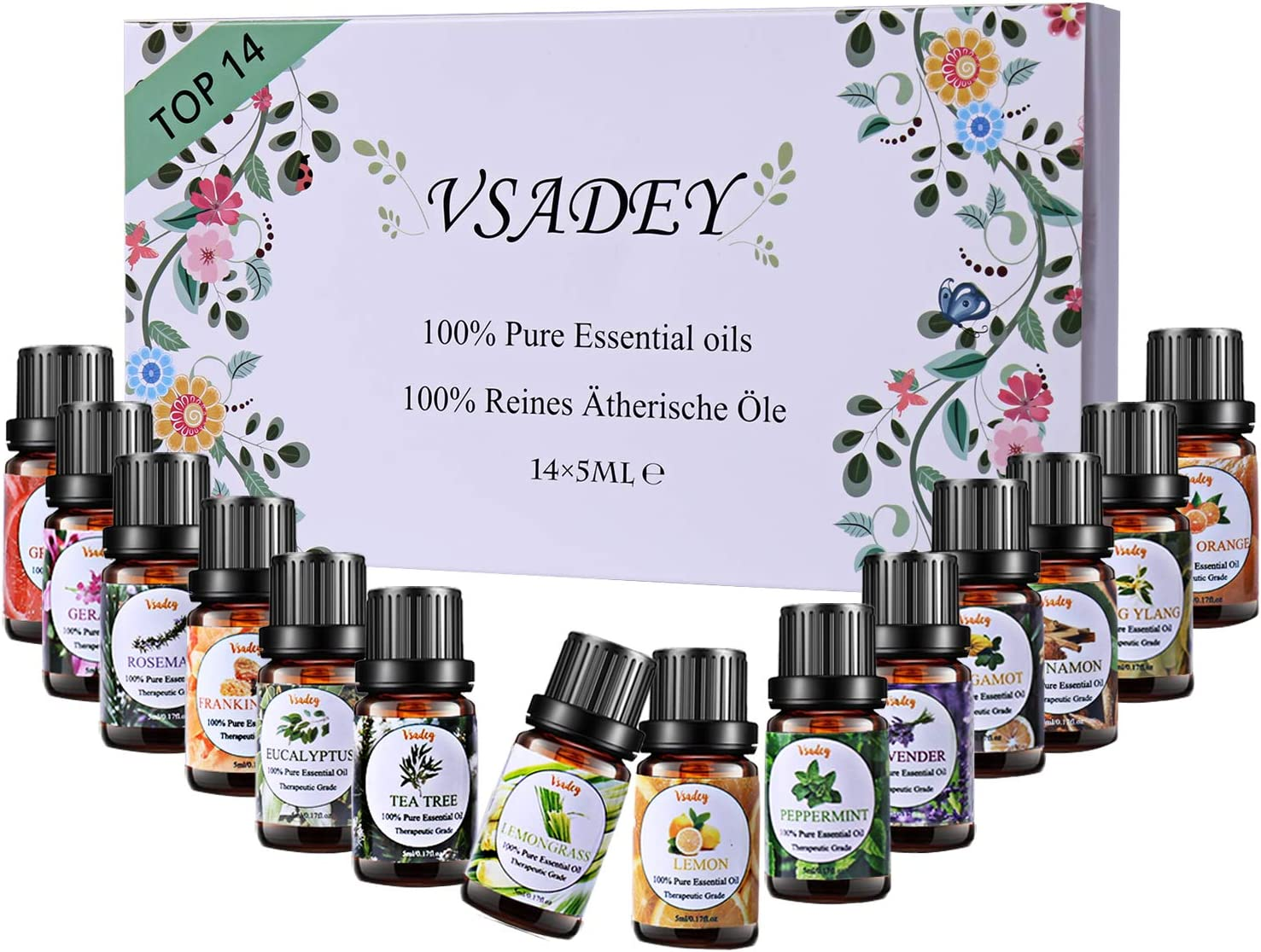 Essential Oils Set 14x 5ml 100% Pure Scented Oils Kit for Aromatherapy, Diffuser, Humidifier, Spa (Lavender, Tea Tree, Eucalyptus,Lemongrass, Ylang