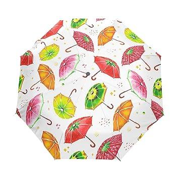 La al azar Watercolor paraguas personalizados resistente al viento UV prueba automática paraguas plegable paraguas de