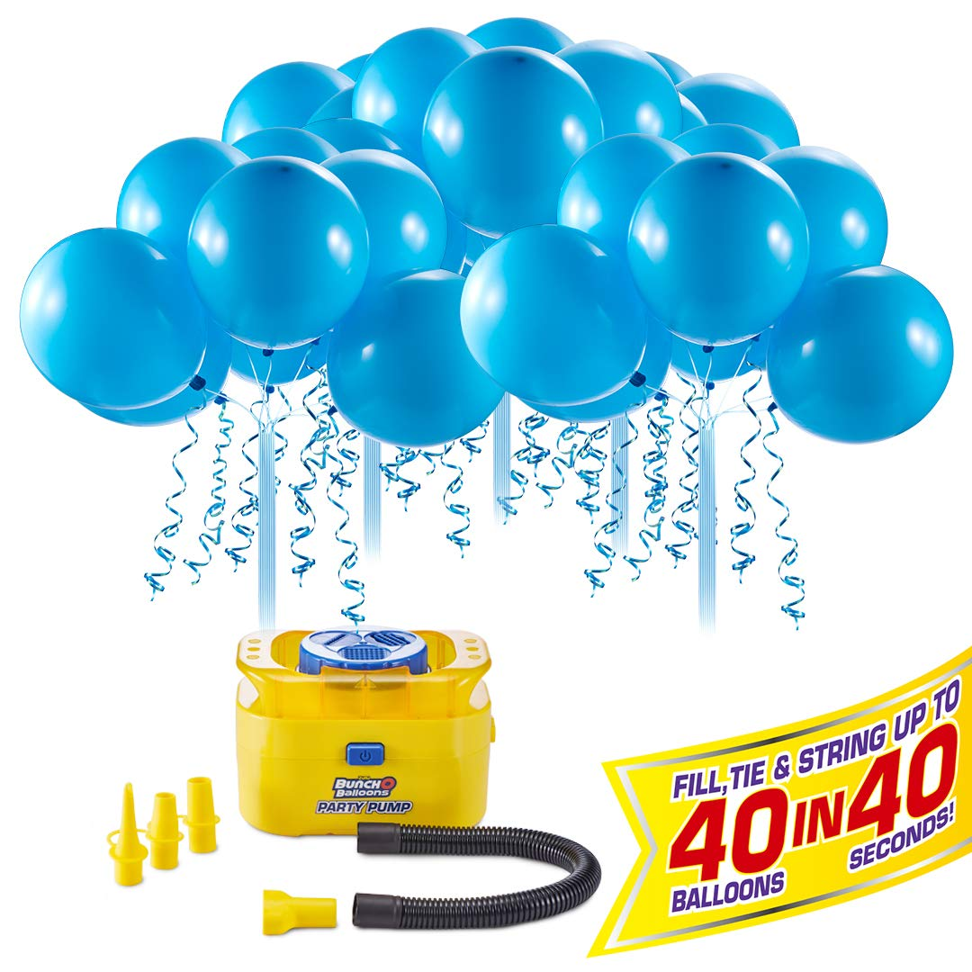 Bunch O Balloons Portable Party Balloon Electric Air Pump Starter Pack (Includes 40X 11'' Self-Sealing Blue Latex Balloons) (Custom Pack) By Zuru