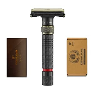 VIKINGS BLADE The Emperor Adjustable Safety Razor, MEIJI Edition (Vintage Bronze & Raven Black)
