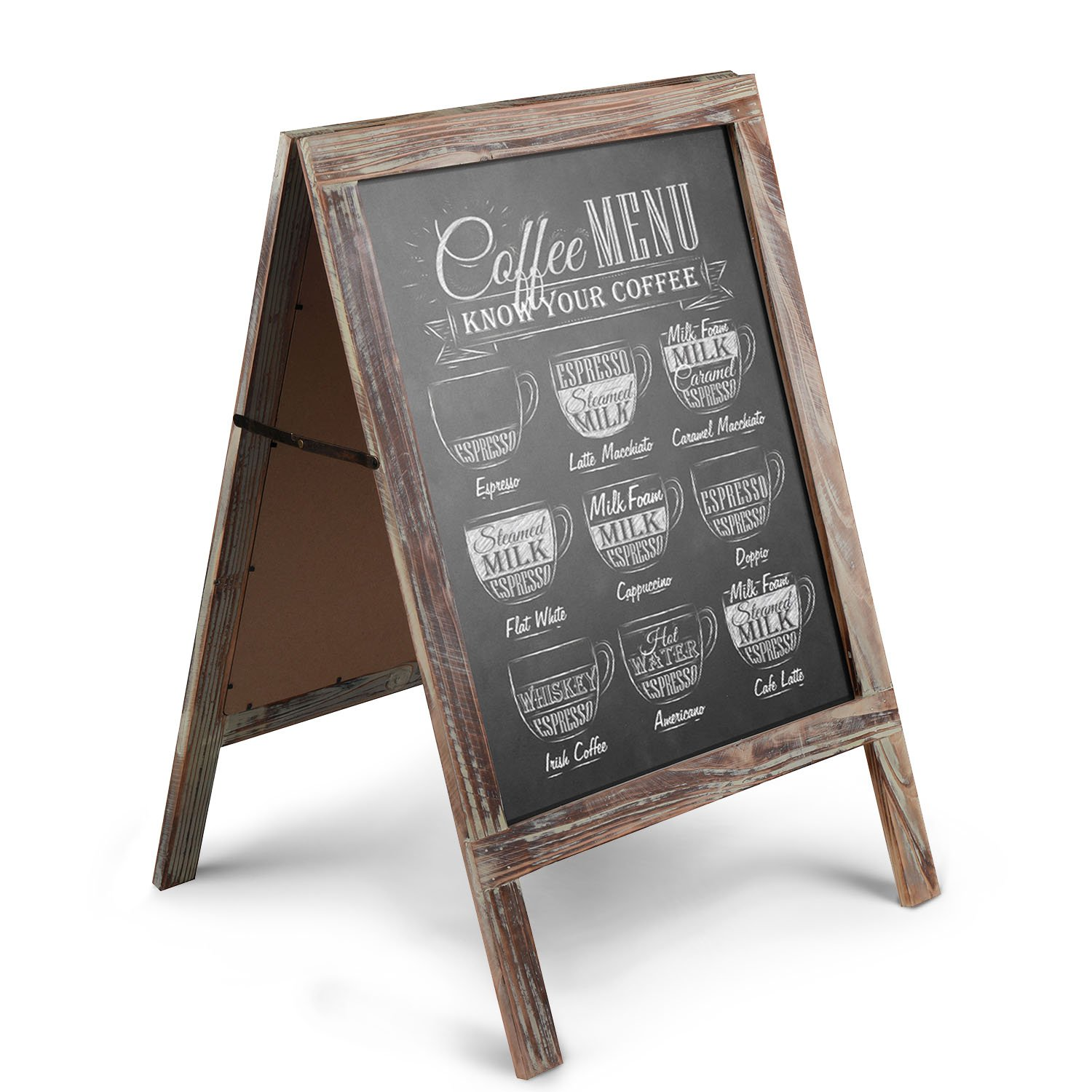 Flexzion A-Frame Chalkboard Sign Rustic Wooden Sidewalk Easel Chalk Stand - Freestanding Sturdy Sandwich Board Double Sided Message Menu Display - Vintage Torched Restaurant Chalkboard for Cafe & Bar