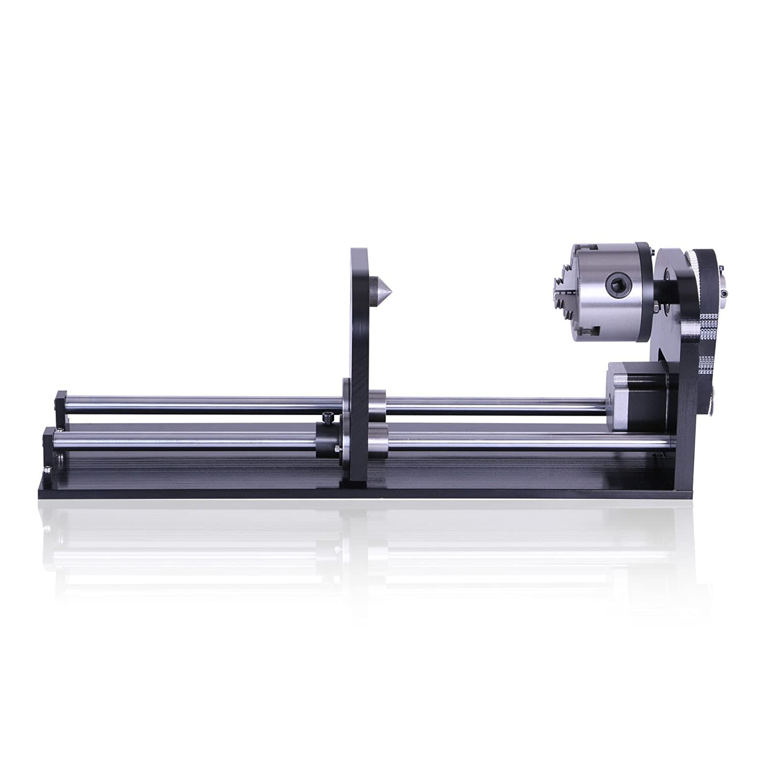 Rotary AXIS CNCShop CNC Router Rotary Axis Rotary Attachment for CO2 Laser Engraving Cutting Machine with 80mm Tailstock A-Axis Rotational Newest Design