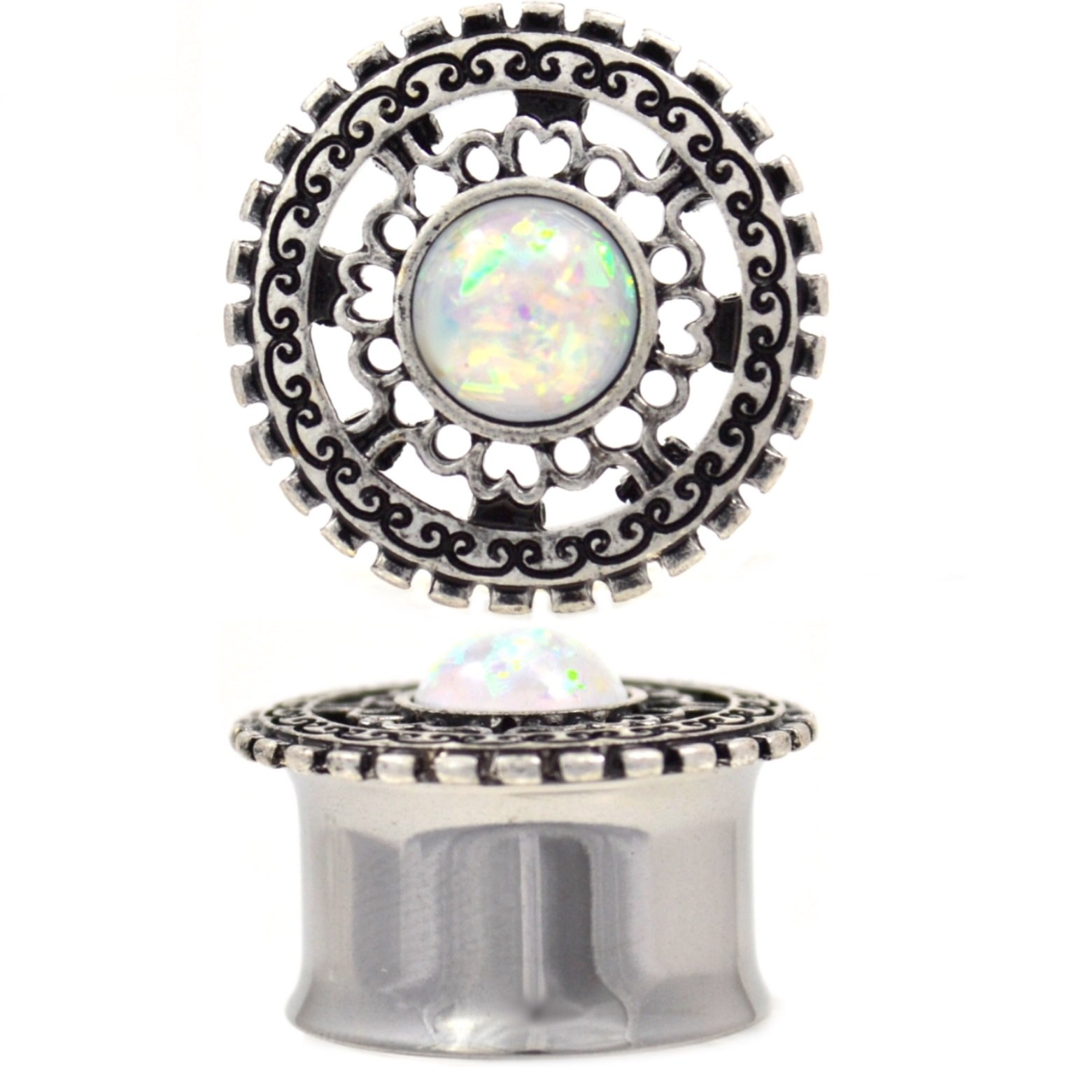 Pair of Tribal Filigree Opalescent White Resin Stone Tunnels Ear Plugs Gauges (Double Flared) - 3/4 Inch (19mm)