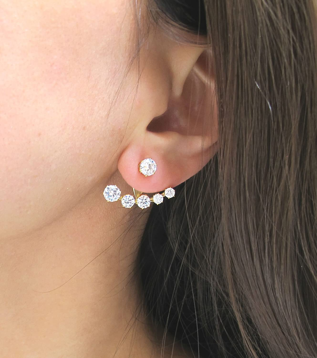 Miss Mozart Stainless Steel Crescent CZ Stone Ear Jackets Multi-Color Available