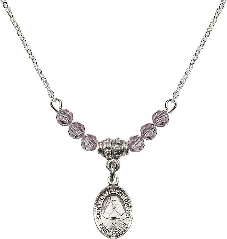Bonyak Jewelry 18 Inch Rhodium Plated Necklace w// 4mm Light Purple February Birth Month Stone Beads and Saint Katharine Drexel Charm