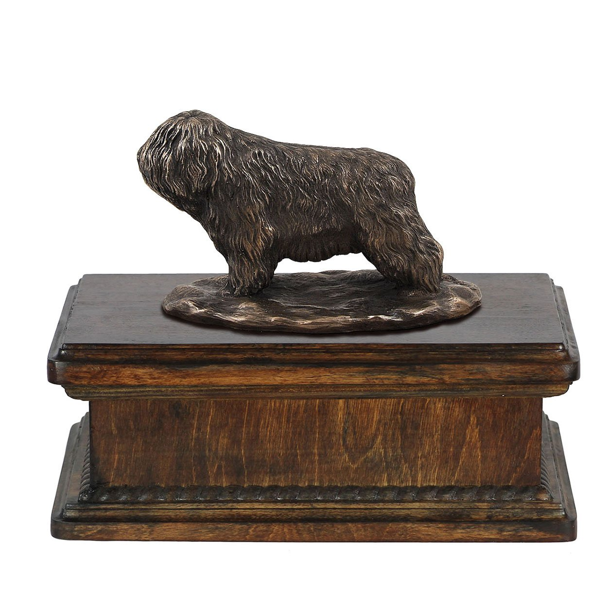 Polish Lowland Sheepdog, memorial, urn for dog's ashes, with dog statue, exclusive, ArtDog
