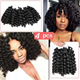 Beauty Angelbella 8 inch 4PCS Jamaican Bounce Crochet Hair, Twist Braids Wand Curl Hair African Collection Synthetic…