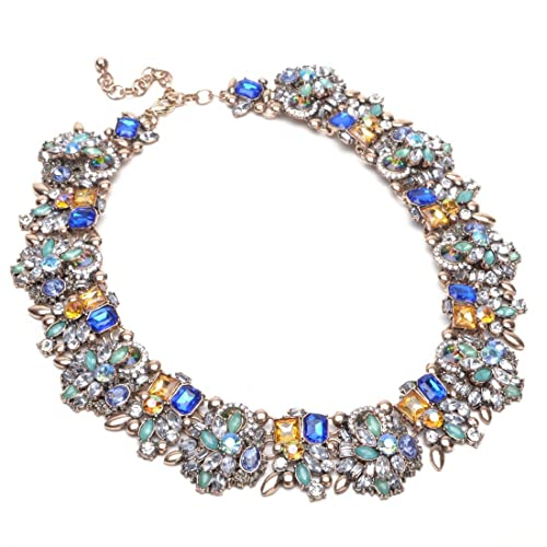 681df14bc Amazon.com: Jerollin Crystal Statement Necklace, Vintage Chunky Necklace  Fashion Costume Jewelry Necklaces for Women: Jewelry
